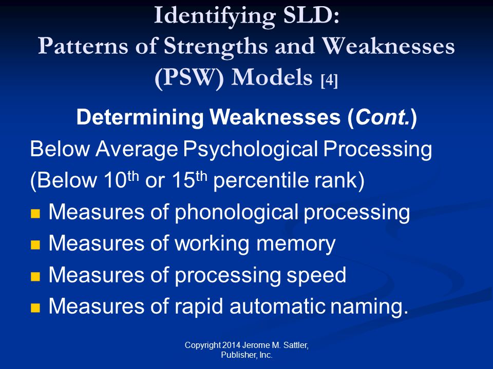 Identifying SLD: Patterns of Strengths and Weaknesses (PSW) Models [4]